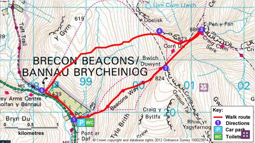 Pen Y Fan route map